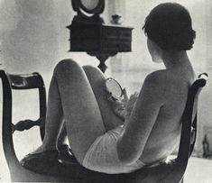 vintage image of topless woman holding a hand mirror | reflection | think | look | ponder | beauty | speak beautiful words to yourself in a soft and gentle voice |