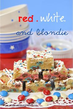 M & M Blondies with Red, White & Blue for July 4th.