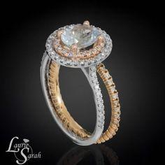 1 carat Aquamarine Engagement Ring with Rose Gold Diamond Half Eternity Wedding Band - LS3337 #Aquamarine #Gemstones #Diamonds #Gold #EngagementRing #WeddingSet #HalfEternity #Weddings #WeddingDay #DoubleHalo #ILoveYou #SayYes #Proposal #OvalStone #LaurieSarahDesigns
