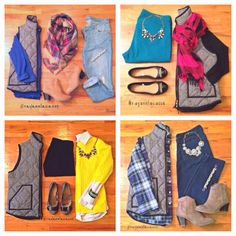 Four Season Fabulous: 2014 Closet Remix Challenge. outfit ideas, outfit planning, herring bone vest, polka dots, plaid, leopard, jcrew necklace, booties, neon, zara blanket scarf