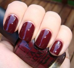 Beautiful oxblood red for fall:   OPI's Mrs. O'Leary's BBQ   (as shown on getnailedbypolish.blogspot.com)