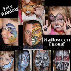 Face painting ideas for  Birthdays or Halloween!