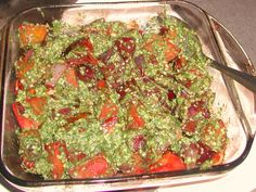 Multi-colored beets with cilantro and hemp seed pesto