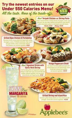 Caso práctico de Gestión de Restaurantes. Caso Applebee's para cocinar, de carta, carta de, receta para, calori menu, diseño de, concept menus, skinni margarita