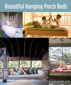 8 Beautiful Hanging Porch Beds! So many dreamy ideas for a porch or outdoor entertaining area.