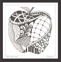 Apple Zentangle - maybe an end of year gift for teacher?