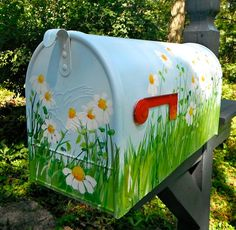 Extra Large Hand Painted Mailbox with Daisies on a Blue Background - EXTRA LARGE SIZE- Original Design- Functional Art