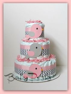 Pink and grey baby shower decorations | Pink And Grey Baby Shower Bird Diaper Cake | DIY ideas