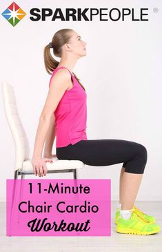 Turn your chair into a fat-torching machine with this no-nonsense seated #cardio #workout. You can do anything for 11 minutes! | via @SparkPeople #fitness #workout #exercise #noexcuses