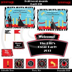 Hollywood Party Printable Mini Party Kit with changeable text  Just type your own text right into the PDF file!  JPG files with blank text also included.