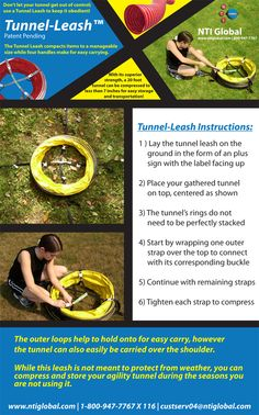 NTI Global Agility Tunnel Leash Set of Instructions. You asked, we listened! Above you will see a photo of our NTI Tunnel Leash instructional handout that will be included in the box with all tunnel leash orders.   For those of you who ordered one previously it is posted here for your reference. Thank you for your feedback... keep sending it, we are listening! - NTI/DS Staff