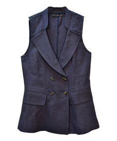 Navy Double-Breasted Blazer Vest #zulily #zulilyfinds