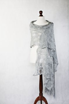 Gray scarf hand knit shawl lace shawl knit by KnitwearFactory, $130.00