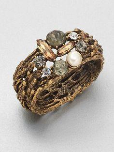 Oscar de la Renta - Stone & Swarovski Crystal Embellished Cuff Bracelet -