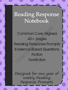 Reading Response Notebook: Fiction and Nonfiction Writing Prompts from McMarie on TeachersNotebook.com -  (42 pages)  - This notebook contains 38 universal Reading Response Prompts to go with fiction and nonfiction texts. Students can respond to their independent reading book or to a story read in class.