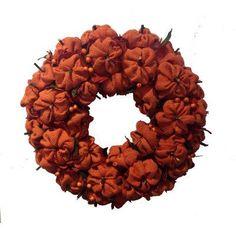 """Burlap Pumpkin Wreath Size: 15"""" H x 15"""" W x 4"""" D Mills Floral Company http://www.amazon.com/dp/B00E4DGQUM/ref=cm_sw_r_pi_dp_bUp6tb1A1XECQ"""