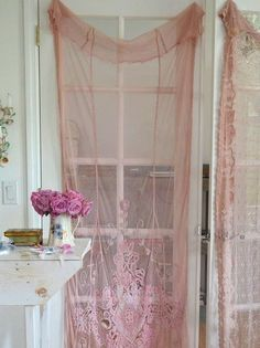 . pink roses, the doors, vintage lace, shabby chic, shabbi chic, lace curtains, garden doors, blush pink, ana rosa