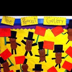 1st grade GPS: George Washington Carver lesson. Students created peanut men and wrote true facts about GWC on the sign the peanut man is holding