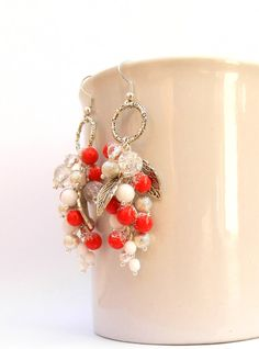 #Christmas  #Red berries in the #snow  Red earrings  by #insoujewelry