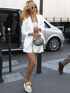 Rihanna wears all white outfit in Paris