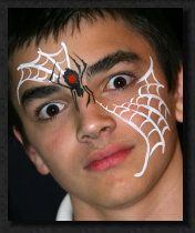 spider webs, facepaint