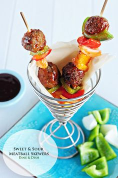 Sweet and Sour Meatball Skewers - a great recipe for entertaining or an easy dinner idea!