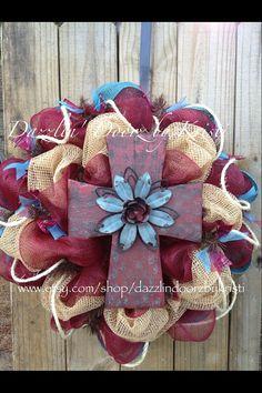 Burlap Cross Wreath by DazzlinDoorzbyKristi on Etsy, $75.00