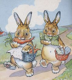 vintag, illustr enfant, easter bunni, hoppi easter, spring, easter bunny, children book