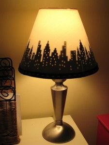 A Cricut cityscape lampshade