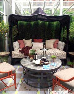 outdoor beds, couch, outdoor rooms, chairs, cabanas