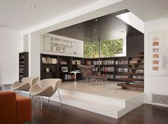 interior, modern living rooms, architects, home libraries, floor plan, griffins, hous, homes, design