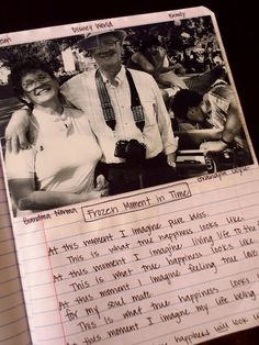 """have students pick out a picture special to them...then have them write about being """"frozen in that moment."""" what is going on during that time tht picture was taken? Great writing idea!!"""