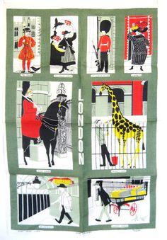 London Tea Towel / Ulster Irish Linen / 1960s by SmallEarthVintage