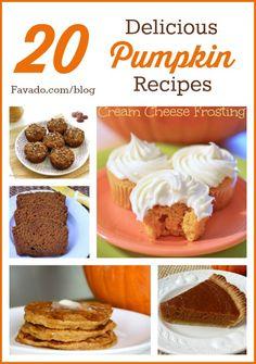 20 Delicious Pumpkin Recipes at Favado.com/blog