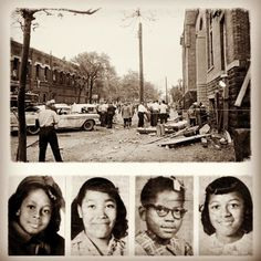 On September 15th, 1963, members of a KKK group planted a box of dynamite with a time delay under the steps of the 16th Street Baptist Church in Birmingham Alabama. The blast killed four young African American women--Addie Mae (14), Denise McNair (11), Cynthia Wesley (14), and Carole Robertson (14). Following the attack, riots broke out in many black neighborhoods in Birmingham. An investigation later concluded that as many as 15 sticks of dynamite were used to make the bomb.