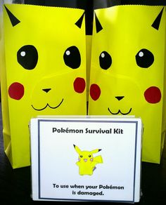 Pikachu gift bags and Pokemon survival kits (first aid kit) for birthday gift bags, birthday parti, pokemon parti, pikachu birthday, pokemon birthday, party bags, parti bag, parti idea