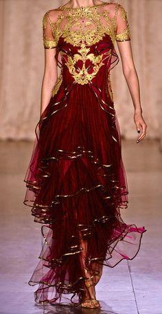 Gold + Oxblood Gown / zuhair murad