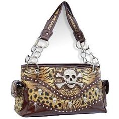 Brown Leopard Print Skull Studded Conceal and Carry Purse On Sale:  $42.98