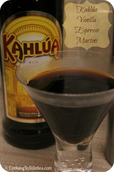 This Kahlúa Vanilla Espresso Martini  takes a classic cocktail and gives it a vanilla twist.  Try it for your next soiree or when you are in the mood for a bit of espresso with a kick!  http://cookinginstilettos.com/kahlua-vanilla-espresso-martini/  #Espresso #Martini  #KahluaHoliday #PinItToWinIt
