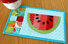 Summer Watermelon Mug Rug. This pattern is just like watermelon - sweet, delicious and very easy to prepare.