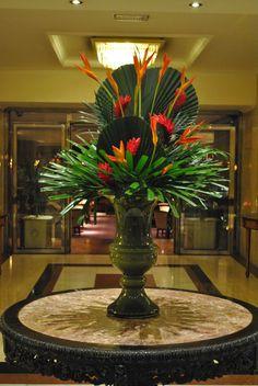 tropical flower arrangement, hotel flower arrangements, tropical flowers, tropic flower