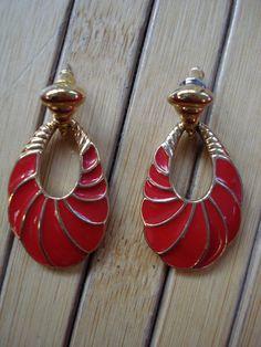 Vintage 1970s Trifari Earrings Red Enamel Pierced by bycinbyhand, $14.00