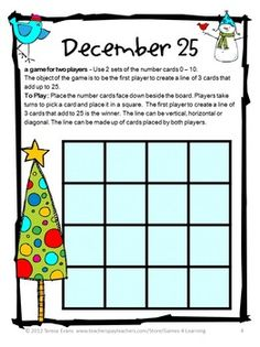 Christmas Math Game FREEBIE - Christmas Math Games by Games 4 Learning contains 2 printable Christmas Math Board Games