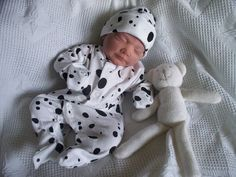 UNISEX 3-5lb size Premature baby Grow DALMATION