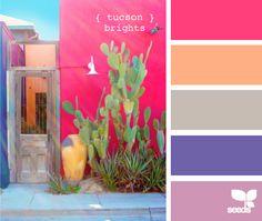color palettes, tucson bright, design seeds, color combos, color schemes, girl nurseries, peach, blues, bright colors