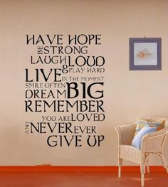 giant never ever give up inspirational quote wall decal