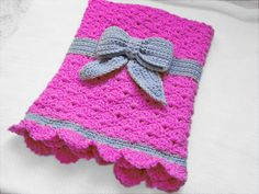 Thursday's handmade love week 62 Theme: baby girl blankets Includes links to free crochet patterns  Crochet baby blanket with a bow via Etsy