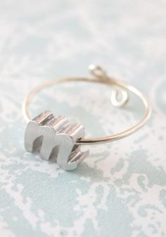 Personalised Silver Initial Letter Ring Silver
