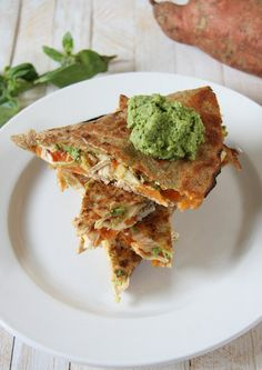 Spinach Hummus & Sweet Potato Goat Cheese Chicken Quesadillas
