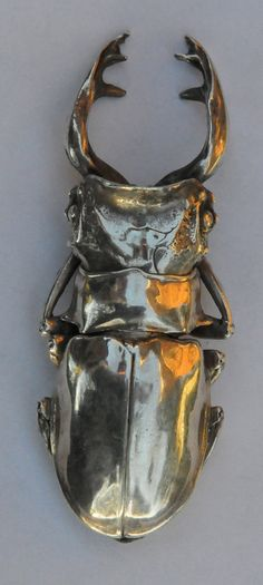 Articulated silver beetle amulet